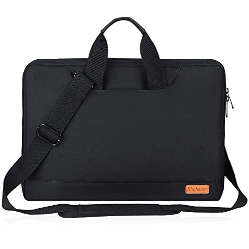 SIMBOOM Laptophülle, Laptoptasche 15-15,6 Zoll mit Schulterriemen & Gepäckgurt, 15,6 Zoll Tragbar Notebooktasche kompatibel PC Laptop Schutztasche Asus Dell Fujitsu Lenovo HP Toshiba - Schwarz