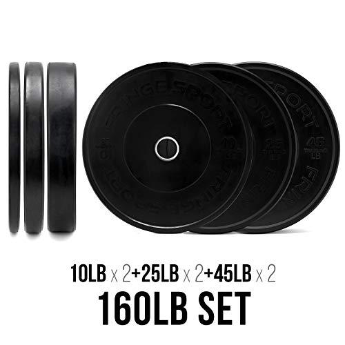OneFitWonder 160 Lbs Bumper Plates Set/Virgin Rubber, Low Bounce, Odorless...
