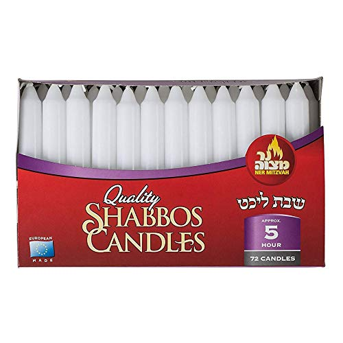 Ner Mitzvah Classic White – 6 Inch Candles - 72 Bulk Pack - for Shabbat Candles, Dinner Tables, Restaurants, Ceremonies and Emergency - 5 Hour Burn Time