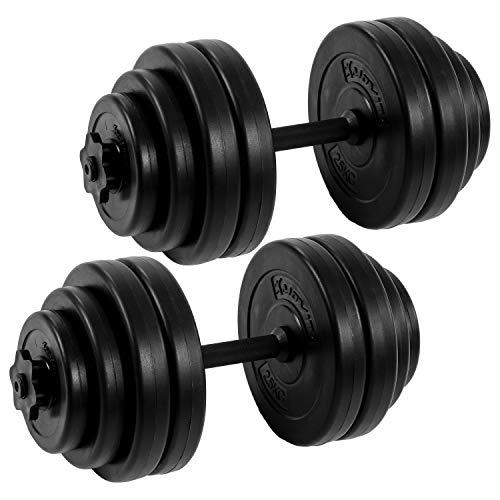 Movit® Kurzhantel 2er Set, Kurzhantelset Gewicht 30kg (2x15kg) Kurzhanteln Stangen gerändelt Hantel mit Sternverschlüssen