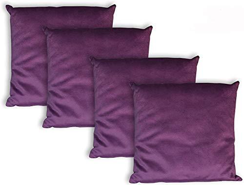 Milanino Dekokissen 40x40 mit Füllung und Bezug | 4 Stück Couchkissen Sofakissen Set | samtweiche Zierkissen mit Reißverschluss | quadratische Deko Kissen für Wohnzimmer- Sofa & Couch (Lila)
