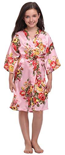 Flower Girl Satin Kimono Robes Floral Printed Bathrobes for Spa Wedding Birthday Party,Floral Pink,6