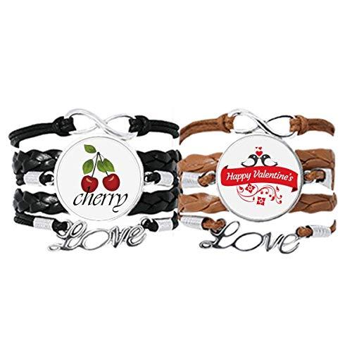 Bestchong Love Birds - Pulsera de piel con cuerda de piel para el día de San Valentín, diseño con texto 'Happy Valentine's Day'