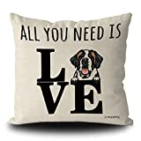 MALIHONG Dog Love Throw Pillow Case All You Need is Love and a Dog Saint Bernard Peeking Dog Cushion Cover for Sofa Bed Home Decor 20x20 Inch