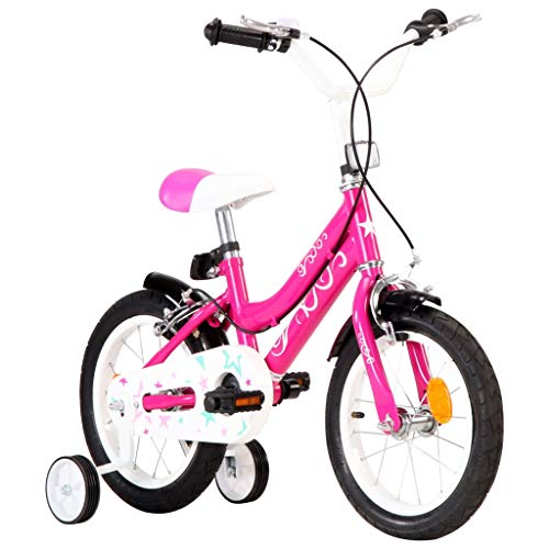 Festnight Bicicleta para Niños 14 Pulgadas Bicicleta Infantil para Niños y Niñas a Partir de 4 Años Negro y Rosa