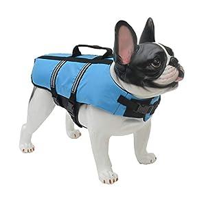 Lovelonglong Dog Lifejacket Life Jackets for English Bulldog Medium Dogs Swimming Safe Boating Coat Dog Swim Protect Reflective Vest Pet Life Preserver Blue L-M