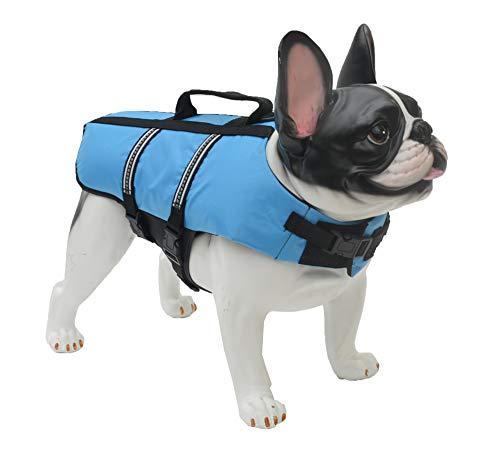 Lovelonglong Dog Lifejacket Life Jackets for Pugs French Bulldog Medium Dogs Swimming Safe Boating Coat Dog Swim Protect Reflective Vest Pet Life Preserver Blue L-S