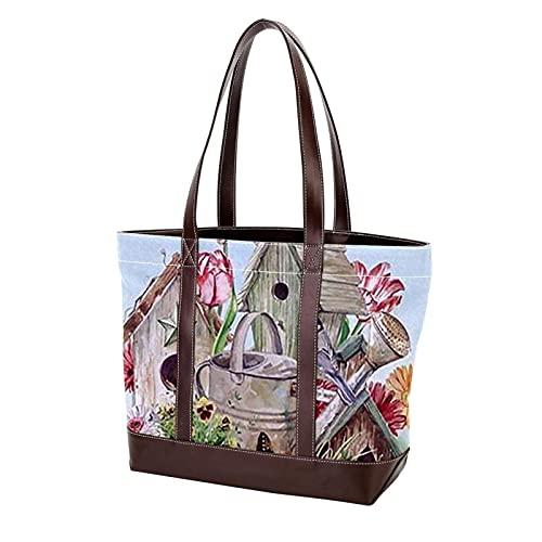 NaiiaN Geldbörse Einkaufen Gänseblümchen Schmetterlinge Vogelhaus Umhängetaschen Einkaufstasche Handtaschen für Mutter Frauen Mädchen Damen Student Leichtgewicht Gurt