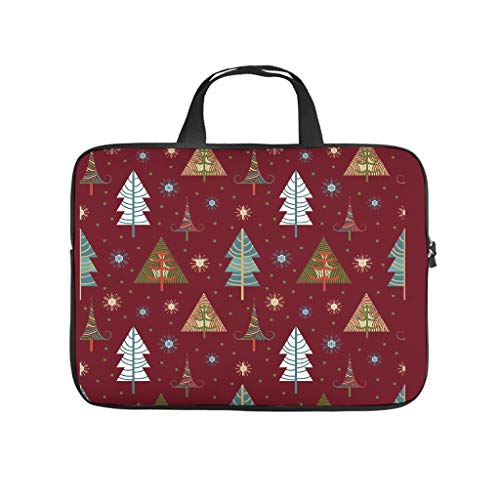 Cute Laptop Sleeve Colorful Christmas Tree Red Base 3D Laptop Protective Case Cover Water Repellent Polyester Laptop Computer Briefcase for Wife Husband White 15inch