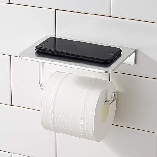 Morfone Toiletpapierhouder zonder boren met plank, wc-rolhouder zilver