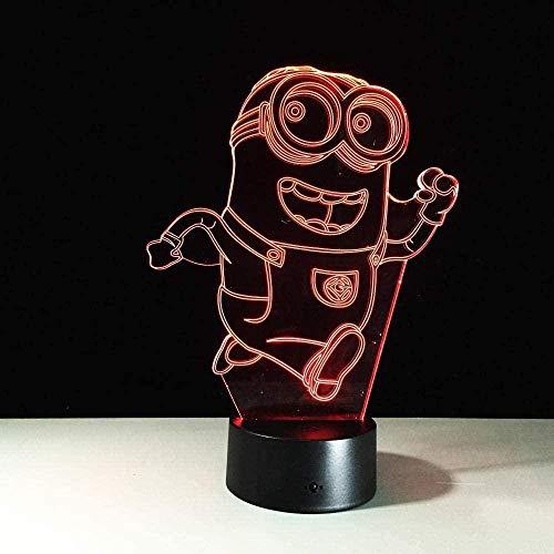 3D-Illusionslampe, Cartoon-Tischlampe mit LED-Nachtlicht für Kinder, Weihnachten, Geburtstag, Geschenke, Minion-Stich, 16 Farben, USB-Atmosphäre