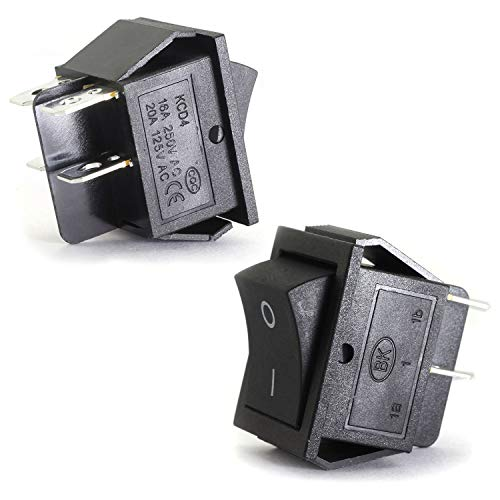 Magic&shell 2-Pack Rocker Power Switch 16A 250V AC 4 Pin 2 Position ON/OFF Power Switch DPST Black Button