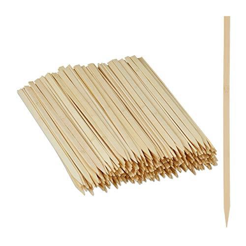 Relaxdays Schaschlikspieße, 250er Set, flache Grillspieße für Schaschlik, Fleisch & Gemüse, Bambus, 30 cm lang, natur