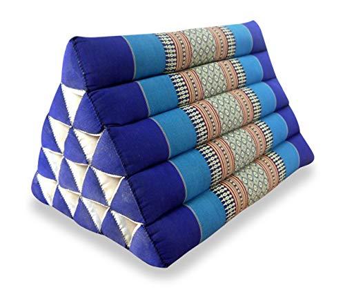 livasia Großes Dreieckskissen als Rückenstützkissen, Thaikissen BZW. Keilkissen, Nackenkissen fürs Bett (blau)
