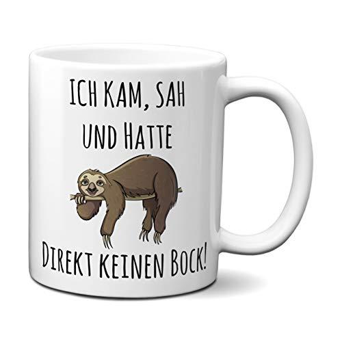 Tasse mit Spruch ICH KAM, SAH UND HATTE DIREKT KEINEN BOCK! - Geschenk für Arbeitskollegen, Kollegin, Chef, Chefin Sprüche Tassen lustig, Tassen Farbe:Weiß