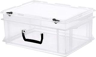 BBZZ Boîte de rangement avec couvercle, légère, robuste, empilable sous le lit, petite fermeture hermétique, portable, ave...