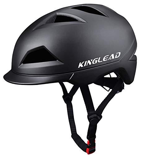 KINGLEAD Casco de Bicicleta con luz LED Recargable Unisex Protegido para Ciclismo Carreras Monopatín Seguridad al Aire Libre Superligero Ajustable con Certificado CE