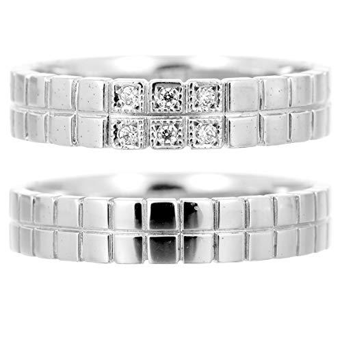 [ココカル]cococaru ペアリング マリッジリング 結婚指輪 プラチナ Pt900 2本セット ダイヤモンド 日本製 】(レディースサイズ16号 メンズサイズ12号)