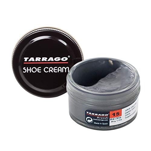 Tarrago |Shoe Cream 50 ml | Crema para Zapatos, Bolsos y Accesorios de Cuero y Cuero Sintético (Gris Oscuro 15)