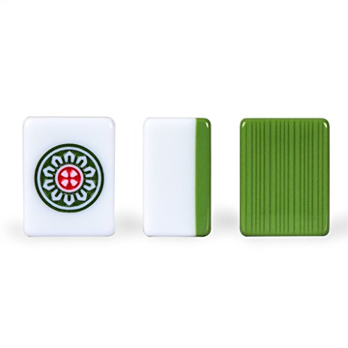 Yellow Mountain Imports Professional Chinese Mahjong Game Set - Double Happiness (Green) - with 146 Medium Size Tiles, 3 Dice and a Wind Indicator - for Chinese Style Game Play