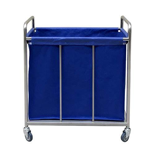 CENPEN Cesta sombrilla azul Heavy Duty hotel balanceo de lavandería Clasificador de almacenamiento sobre ruedas, Carro Portátil Vestíbulo Corrector de lino con extraíble bolsa (Color: Azul, Tamaño: 80