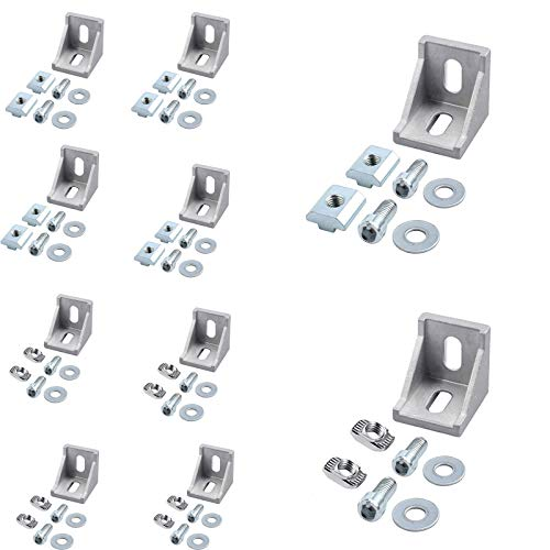 Soportes Esquina Aluminio,10 Piezas Aluminio L Forma de Soporte Soporte Montaje Aluminio con Tornillos T-ranura Tuercas,Hogar Soporte de Esquina,para perfiles de aluminio/tubos de aluminio 40X40X35mm