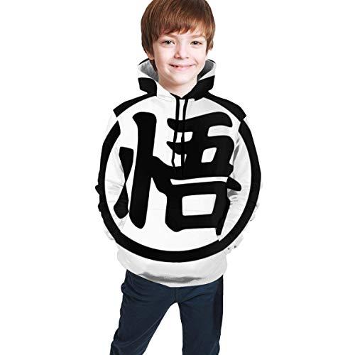 Suter con Capucha para nios y nias Adolescentes, Suelto, cmodo, Transpirable, Casual, Top Goku Dragon_Ball Wu Logo L