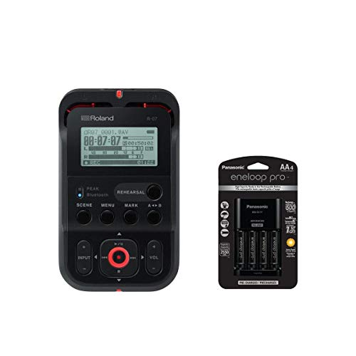 Roland R-07 Portable High-Resolution Audio Recorder - Black - With Panasonic Charger with 4 Pro Eneloop AA Size Batteries