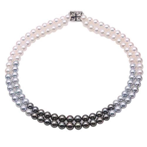 JYX - Collana di perle a doppio filo, con perle naturali Akoya e perle di Tahiti nere grigie
