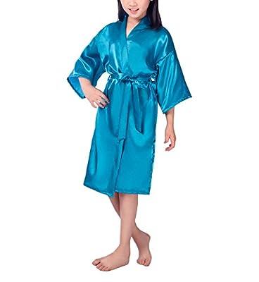 Hwafan Children Kids Satin Silk Bathrobe Kimono Dressing Gown Pajamas Robe Sleepwear