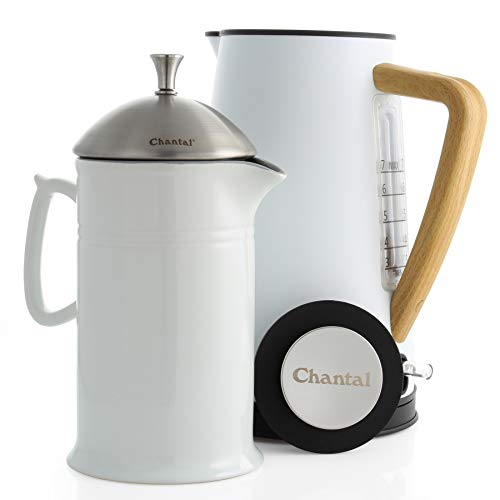 Chantal Oslo Craft Coffee Set, Electric Water Kettle and 28oz French Press, White, 2 piece oslo ekettle set