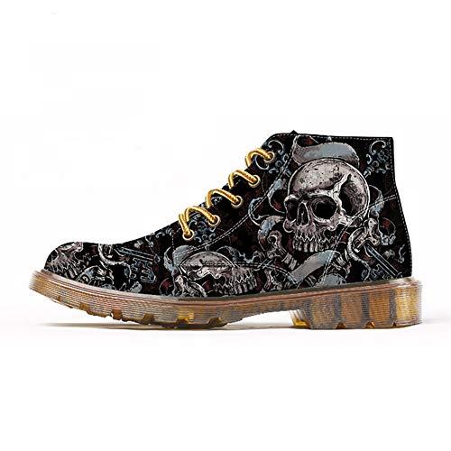 FIRST DANCE Herrenschuhe, coole Totenkopf-Stiefel, Totenkopf-Schuhe für Herren, Skelett-Druck, schwarz, knöchelhoch, Schuhe (US5,5-US16), Schwarz (Skull01), 47 EU