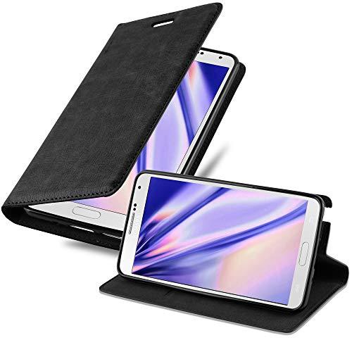 Cadorabo Hülle für Samsung Galaxy Note 3 - Hülle in Nacht SCHWARZ – Handyhülle mit Magnetverschluss, Standfunktion und Kartenfach - Case Cover Schutzhülle Etui Tasche Book Klapp Style