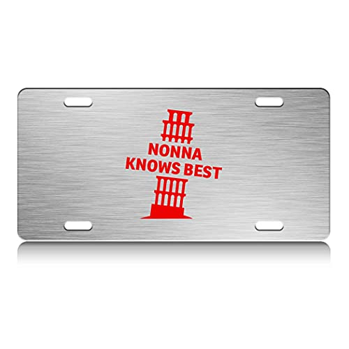Press Fans - Nonna Knows Best Italy Pisa Tower S.Steel Car SUV Truck License Plate Decorative Tag Chrome-D#f34