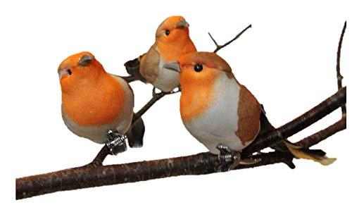 Gisela Graham: 8CM PETTIROSSO uccellino Set da 3 - NUOVO PER NATALE 2016
