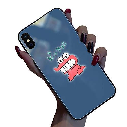 TWNHMJ Hoesje voor iPhone XS MAX telefoonhoes, case iPhone XR Caso dinosaurus logo LED-lampen inkomende oproepen bliksemafdekking geharde glazen achterkant voor iPhone XS/X cover