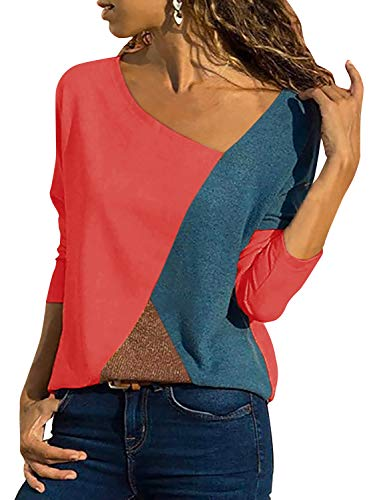 Yidarton Damen Casual Patchwork Farbblock Langarm T-Shirt Asymmetrischer V-Ausschnitt Langarmshirt Tops Sweatshirt Tunika Top Pullover Bluse Oberteil, 3-langarm-orange, M