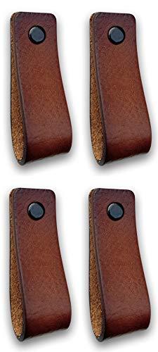 Ledergriffe Möbel | Cognac - 4 Stück | Ledergriff für Schränke, die Küche und Tür | Lieferung mit Schrauben in 3 Farben