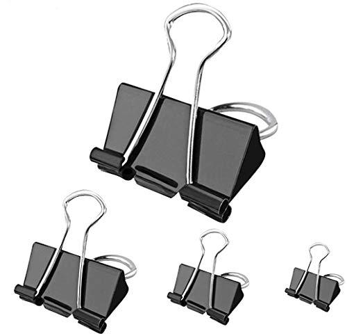 Bulldog Clips - 100 pcs Binder Clips 4 Sizes Foldback Clips Stationary Paper Clips 15mm 19mm 32mm 51mm