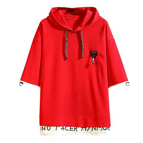VANMO Herren Hoodie,2020 Neu Herren Sommer Mode Druck Patchwork Hoodie T-Shirts mit kurzen Ärmeln Tops Lose Persönlichkeit Sweatshirt Einfarbig Einfach Manschetten Nähen
