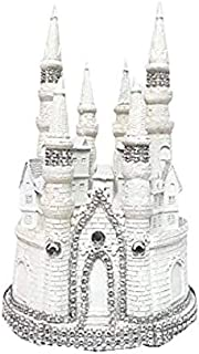 White and Silver Fairytale Castle Cake Top Topper Centerpiece