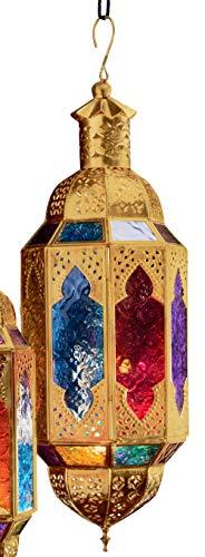 Purity Verzierte Hängelaterne im marokkanischen Stil für Teelichter, buntes Glas und goldfarbenes Metall, groß 15 x 13,5 x 45 cm