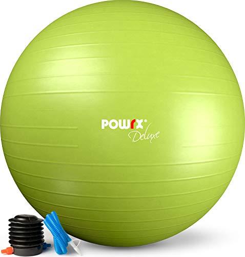 POWRX Gymnastikball Anti-Burst inkl. Pumpe | Verschiedene Größen und Farben (Grün/55 cm)