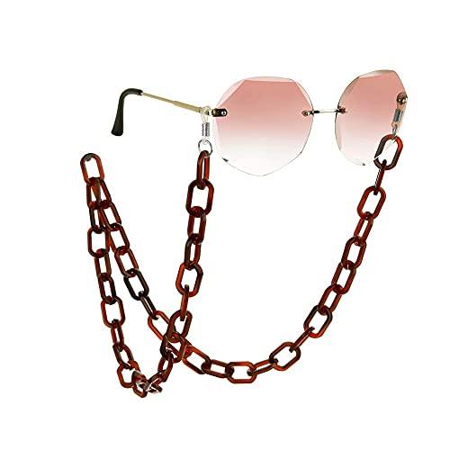 AMOZ Cadenas de Acrílico para Gafas de Sol para Mujer, Accesorios para Gafas, Cadena de Moda para Gafas, Soporte para el Cuello, Correa, Cordones,Rojo