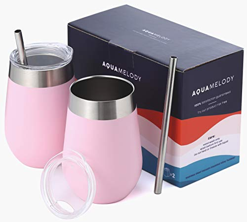 Aqua Melody Double Insulated Stainless Steel Wine Glass | 12oz Wine Tumbler | Powder Coated | Unbreakable (Includes 2 Steel Straws and 2 Lids) (Pink, 12oz)