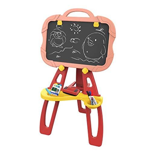 LAMZH Kinder-Staffelei für Kinder, doppelseitig, Weiß & Schwarz, mit Kreiden und Markern, Spieltafel, Kunsttafel, Set für Kleinkinder, Jungen und Mädchen (Farbe: Pink, Größe: 88 x 46 x 50 cm)