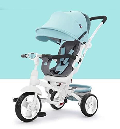 Qinmo Cochecito de bebé Cochecitos de bebé Pliegue de dirección de la carretilla triciclo/Bicicleta infantil de la carretilla/bici del bebé del carro de bebé, 1-6 años (Color: Rosa), azul