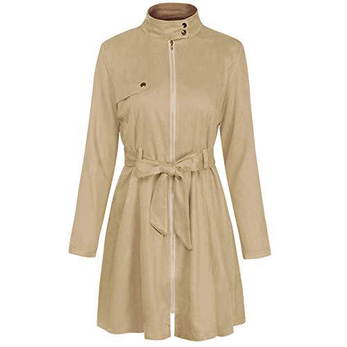 N/AA Mini vestido elegante de primavera delgado de las mujeres de manga larga cinturón cremallera Cardigan vestido Streetwear