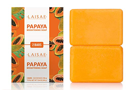 Papaya Brightening Soap - for Exfoliates & Cleanses Body-Facial - Reduces Acne Scars, Age Spots & Fine Lines -Suitable for All Skin Types (2 Bars/3.52 Oz)