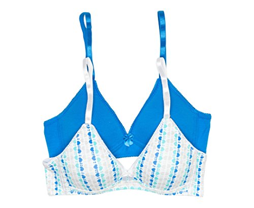 Trimfit Girls' Lightly Lined Wirefree Cotton Bra (Pack of 2), Diagonal Hearts/Blue, 36AA